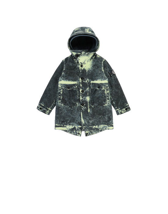 STONE ISLAND BABY 41638 PAINTBALL CAMO COTTON CANVAS  Mid-length jacket Man Avio Blue