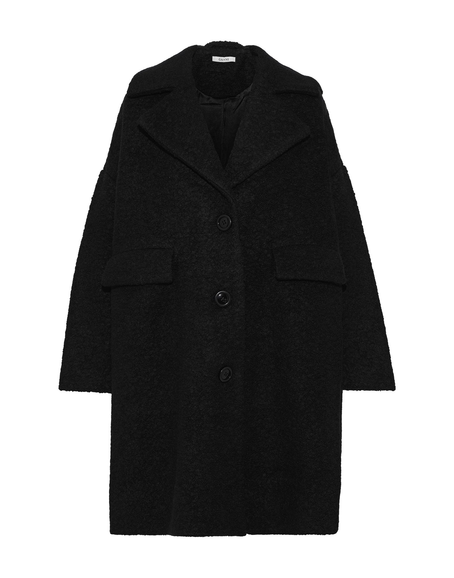 GANNI Coats. bouclé, no appliqués, basic solid color, single-breasted, button closing, lapel collar, multipockets, long sleeves, fully lined, large sized. 50% Wool, 50% Polyester