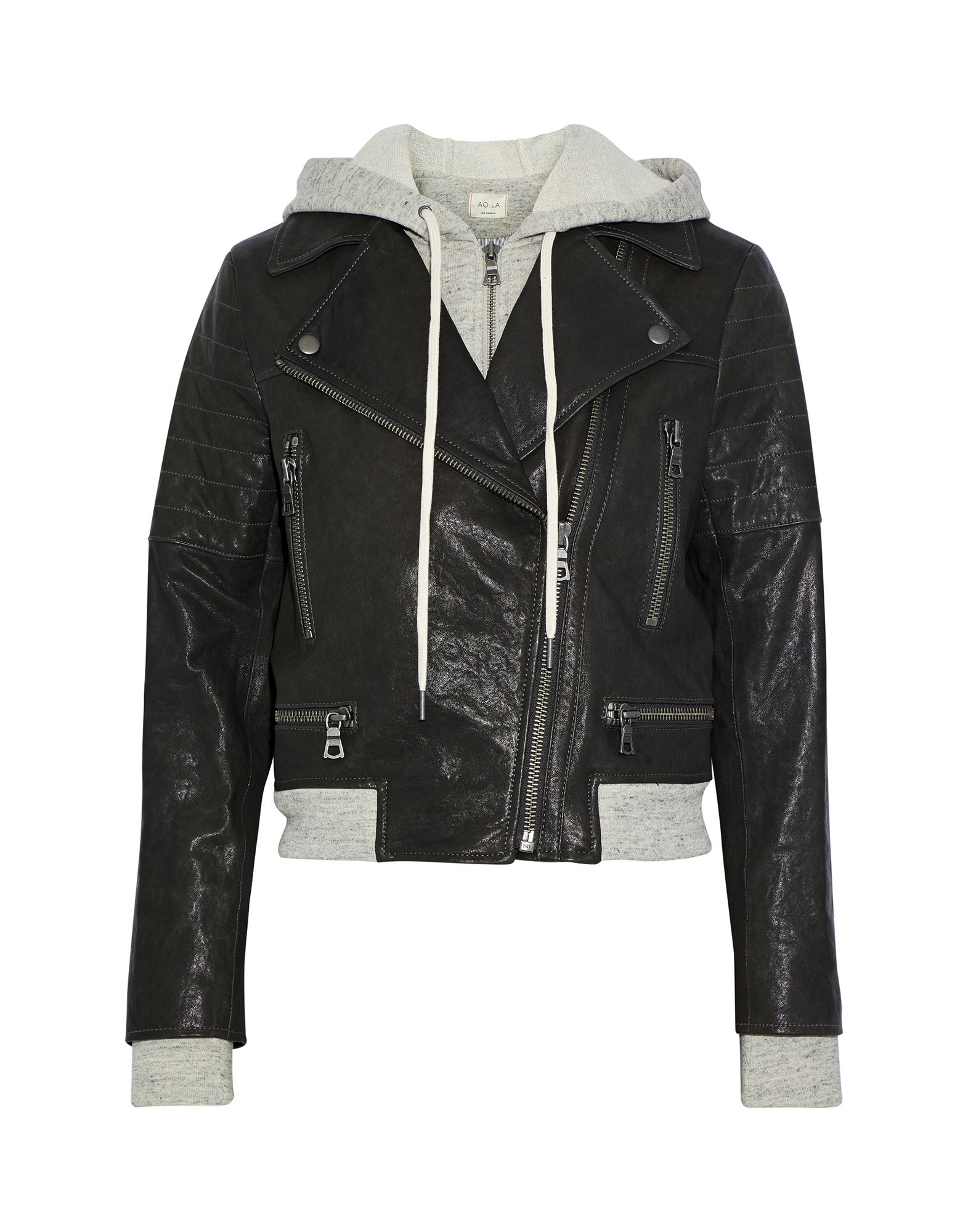 ALICE + OLIVIA Jackets. sweatshirt fleece, leather, no appliqués, solid color, single-breasted, zipper closure, hooded collar, multipockets, long sleeves, fully lined, contains non-textile parts of animal origin, large sized. 100% Lambskin, Cotton, Linen