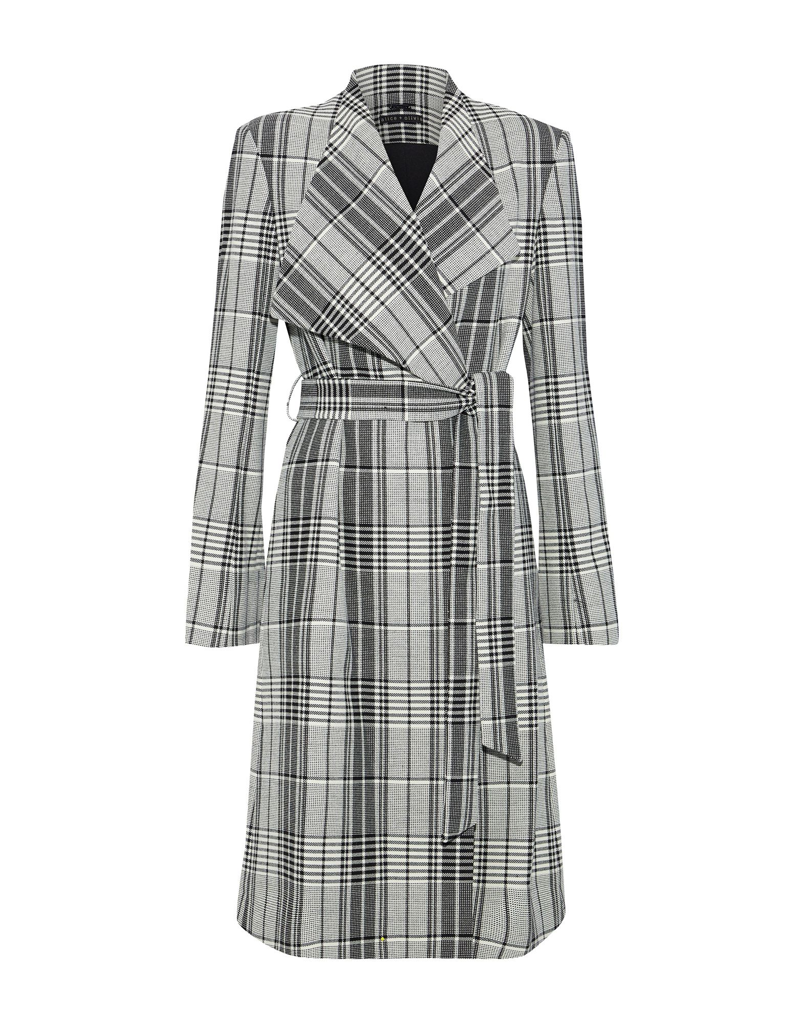 ALICE + OLIVIA Overcoats. flannel, no appliqués, glen plaid, single-breasted, lapel collar, multipockets, long sleeves, fully lined, belted waistline, stretch, large sized. 62% Polyester, 26% Viscose, 9% Wool, 3% Elastane