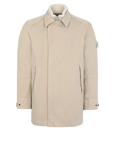 STONE ISLAND 440F1 RASO GOMMATO DOUBLE_GHOST PIECE WITH INTERNO STACCABILE Mittellange Jacke Herr Beige EUR 1273