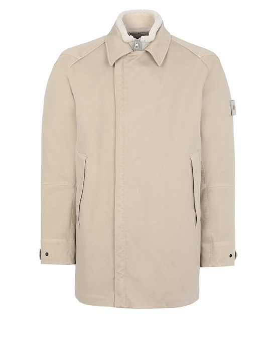 STONE ISLAND 440F1 RASO GOMMATO DOUBLE_GHOST PIECE WITH INTERNO STACCABILE Mittellange Jacke Herr Beige