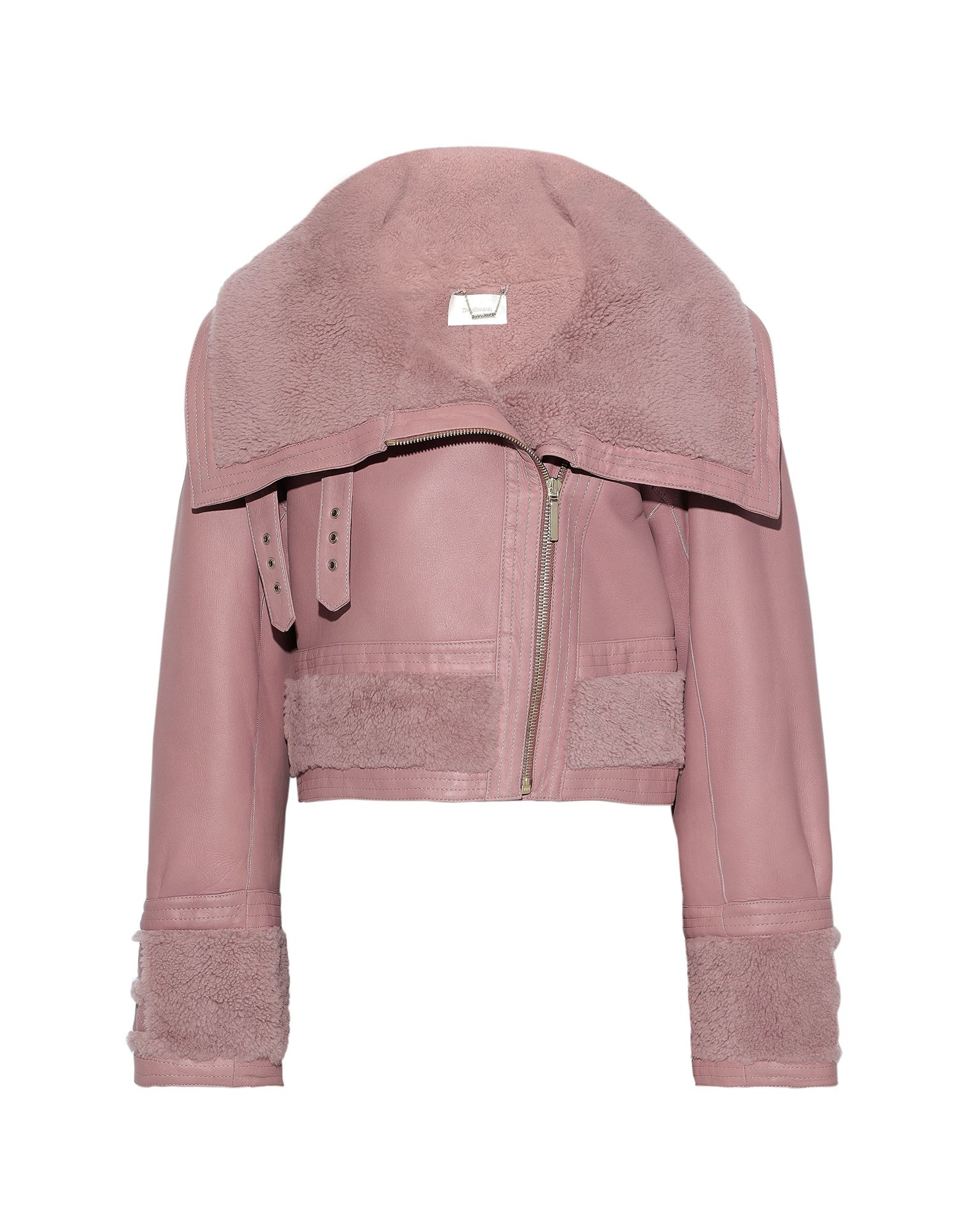 ZIMMERMANN Jackets. leather, buckle, solid color, single-breasted, zipper closure, lapel collar, no pockets, long sleeves, lined in goat hair, contains non-textile parts of animal origin. 100% Lambskin
