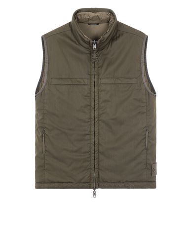 STONE ISLAND G05F1 GHOST PIECE<br>STRETCH WOOL NYLON - REVERSIBLE Vest Man Military Green USD 1032