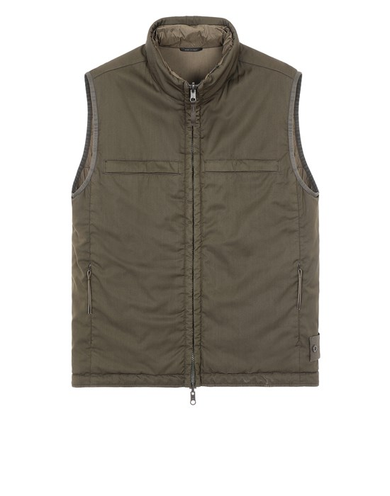 STONE ISLAND G05F1 GHOST PIECE<br>STRETCH WOOL NYLON - REVERSIBLE Waistcoat Man Military Green