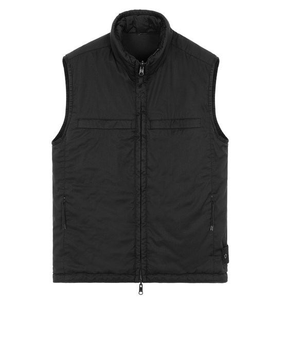 STONE ISLAND G05F1 GHOST PIECE<br>STRETCH WOOL NYLON - REVERSIBLE Vest Man Black