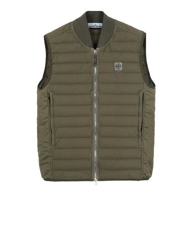 STONE ISLAND G0225 LOOM WOVEN DOWN CHAMBERS STRETCH NYLON-TC Vest Man Olive Green USD 647