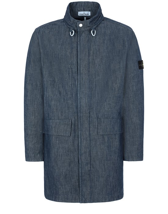 Mid-length jacket Man 70647 MAC CHAMBRAY 3L Front STONE ISLAND