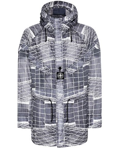 STONE ISLAND 42999 REFLECTIVE GRID ON LAMY-TC  Parka Man Blue Grey EUR 1148