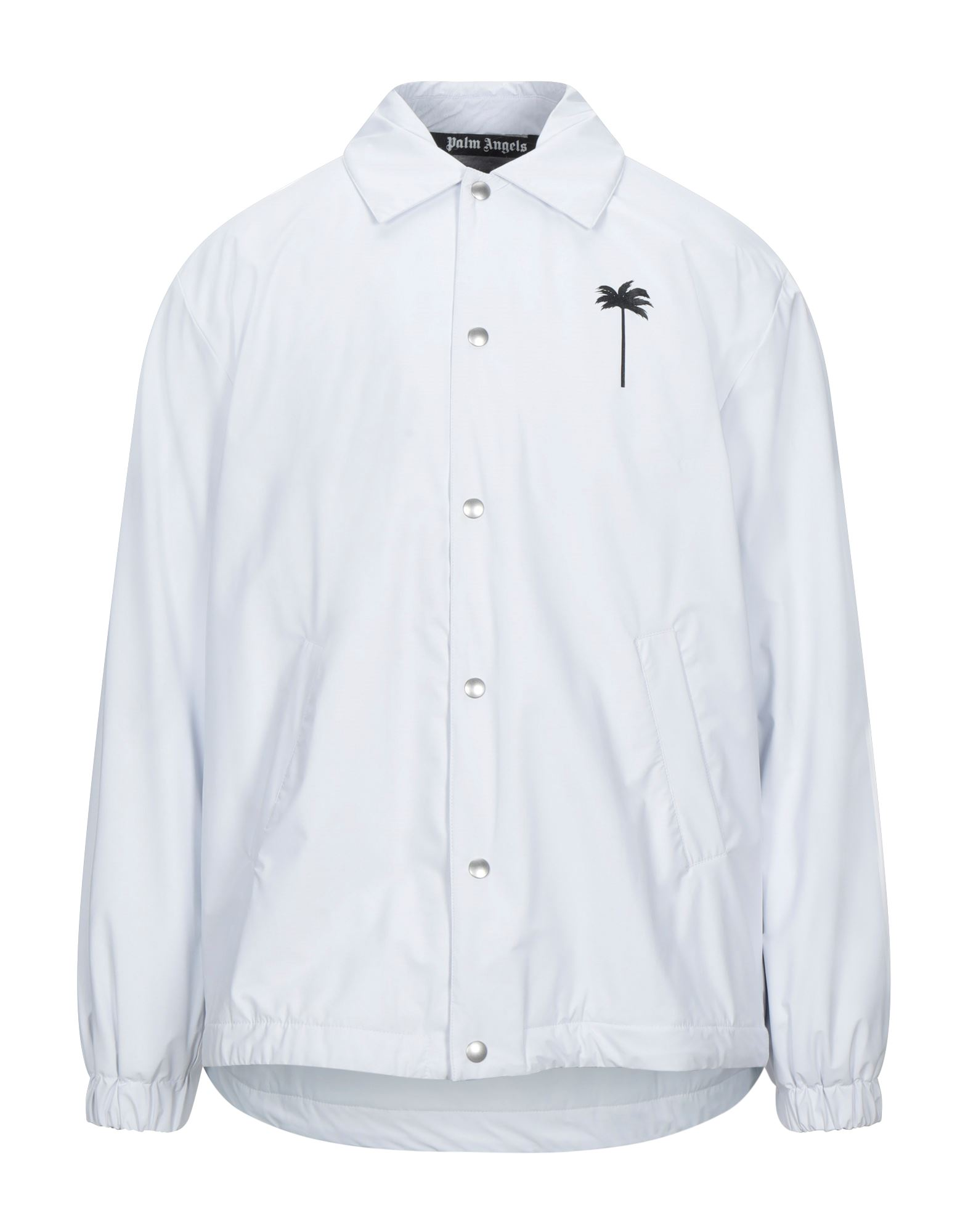 PALM ANGELS Jackets. techno fabric, logo, print, solid color, single-breasted, snap buttons fastening, classic neckline, multipockets, long sleeves, fully lined. 68% Polyurethane, 32% Polyamide, Polyester