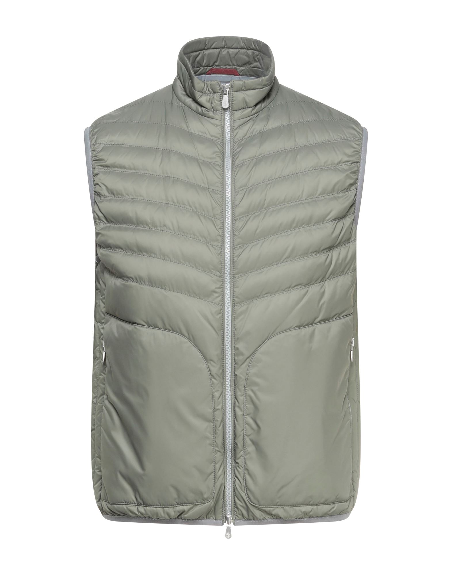 BRUNELLO CUCINELLI Synthetic Down Jackets. techno fabric, no appliqués, solid color, single-breasted, zipper closure, turtleneck, multipockets, sleeveless, internal padding, large sized. 100% Nylon