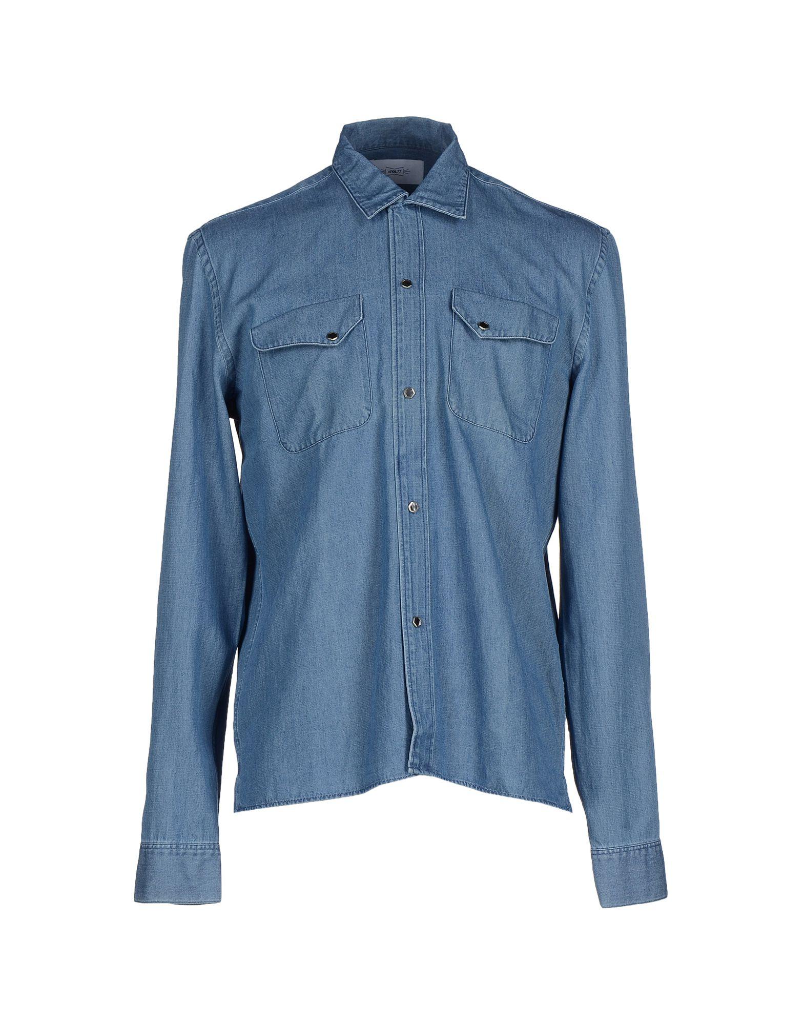 цена APRIL 77 Джинсовая рубашка онлайн в 2017 году