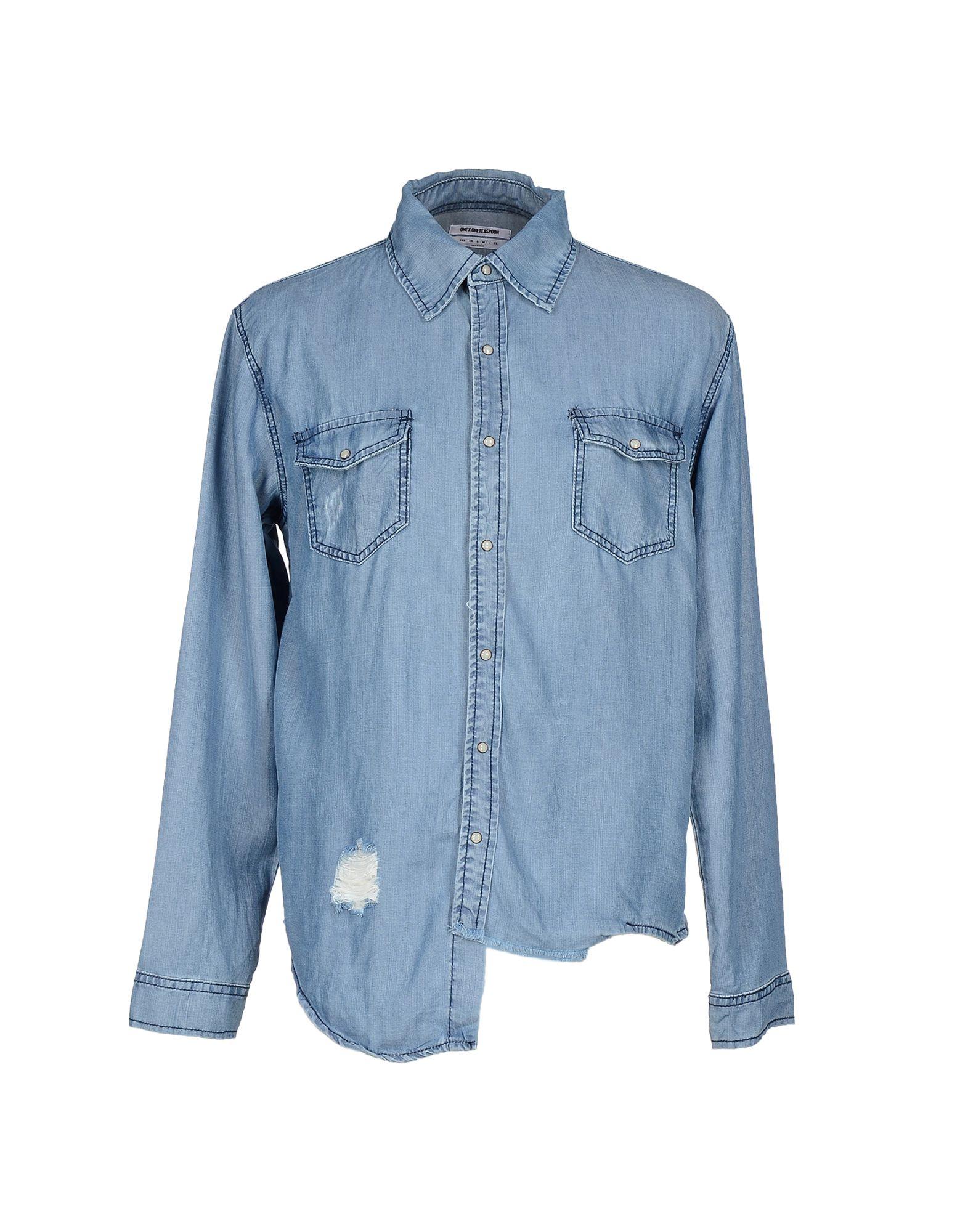 Фото ONE x ONETEASPOON Джинсовая рубашка. Купить с доставкой