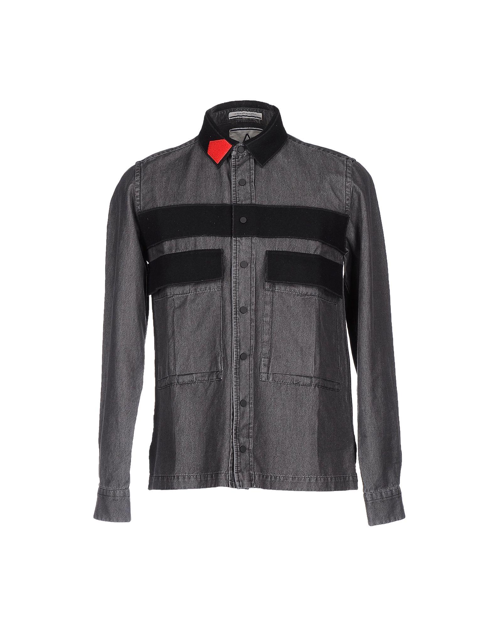 ANDREA POMPILIO Джинсовая рубашка цена 2017