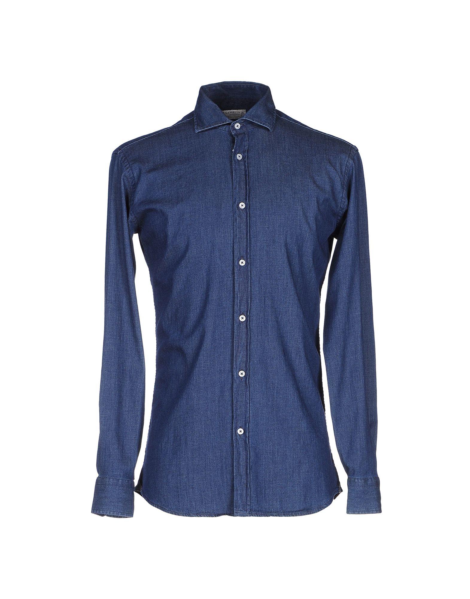 P. LANGELLA Джинсовая рубашка at p co рубашка джинсовая атипико franciacpb33 0915 синий 42