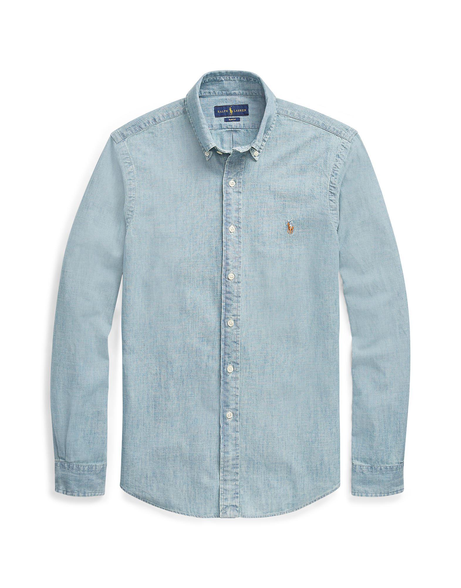 《送料無料》POLO RALPH LAUREN メンズ デニムシャツ ブルー S コットン 100% Slim Fit Chambray Shirt