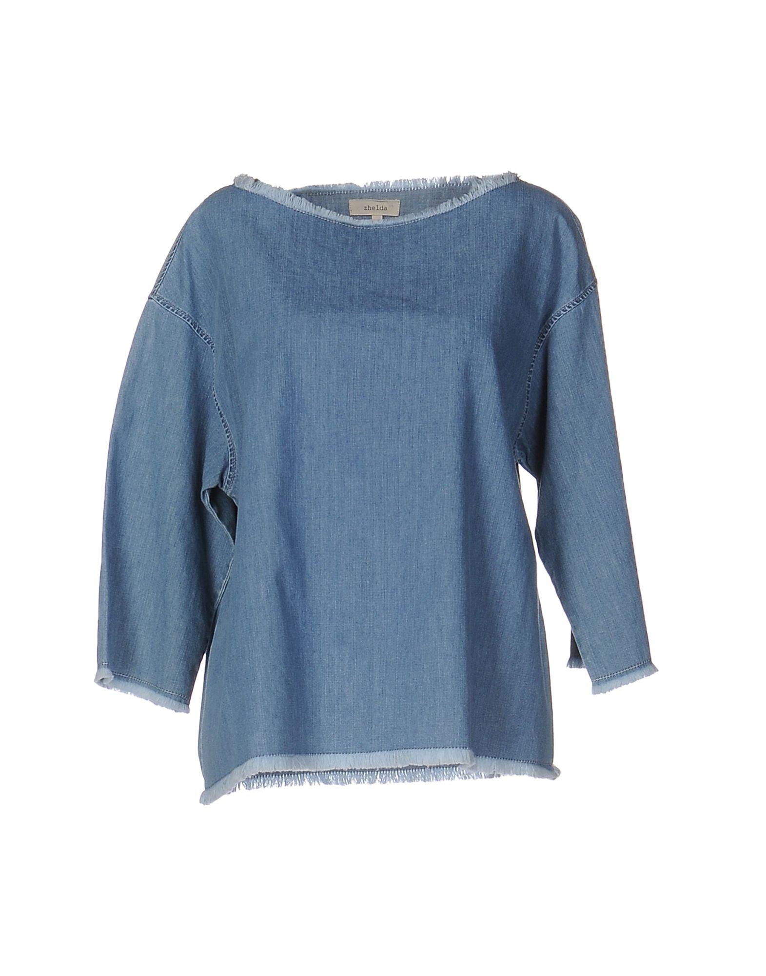 цена ZHELDA Джинсовая рубашка онлайн в 2017 году