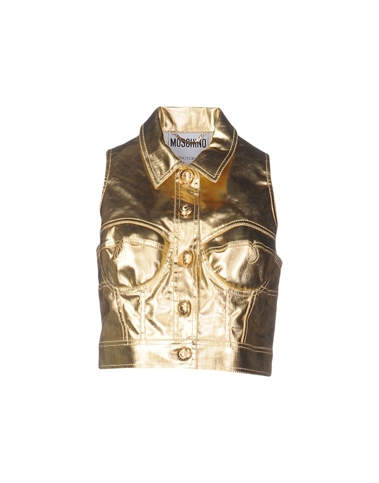 цена MOSCHINO COUTURE Джинсовая верхняя одежда онлайн в 2017 году