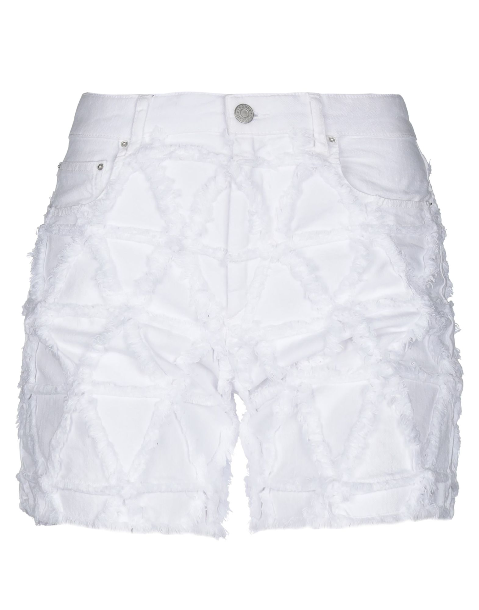 ISABEL MARANT Denim shorts. denim, basic solid colour, high waisted, colored wash, front closure, button, zip, multipockets, fringe, stretch. 97% Cotton, 3% Elastane