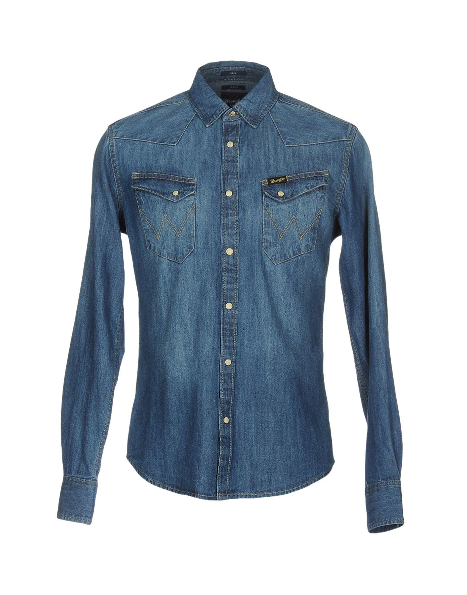 《セール開催中》WRANGLER メンズ デニムシャツ ブルー 3XL コットン 100%