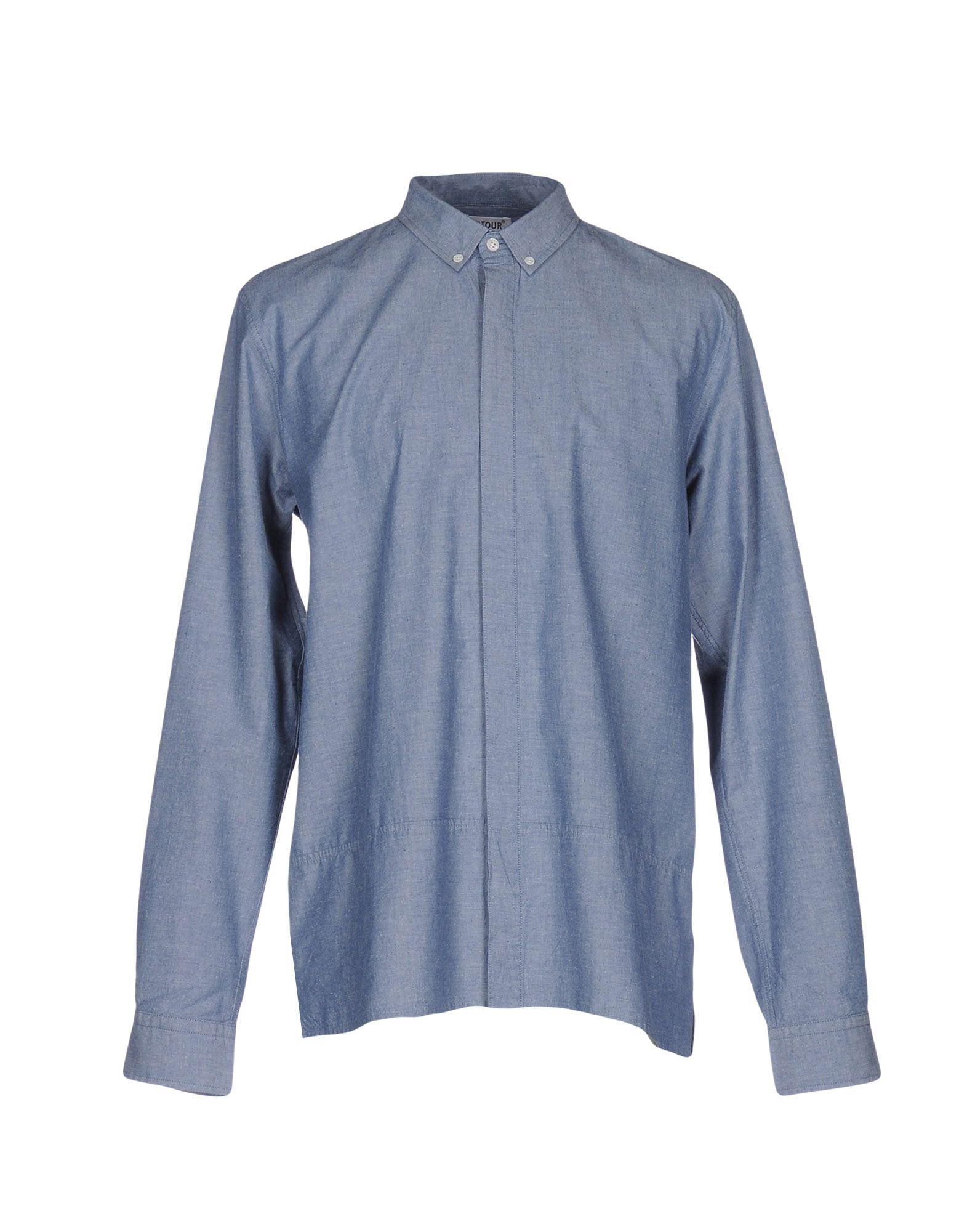 《送料無料》ONTOUR メンズ デニムシャツ ブルー XL コットン 100%