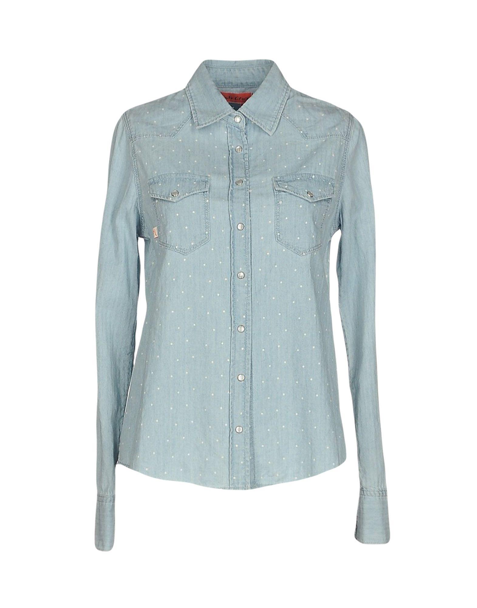 《送料無料》MANILA GRACE DENIM レディース デニムシャツ ブルー 38 コットン 100%