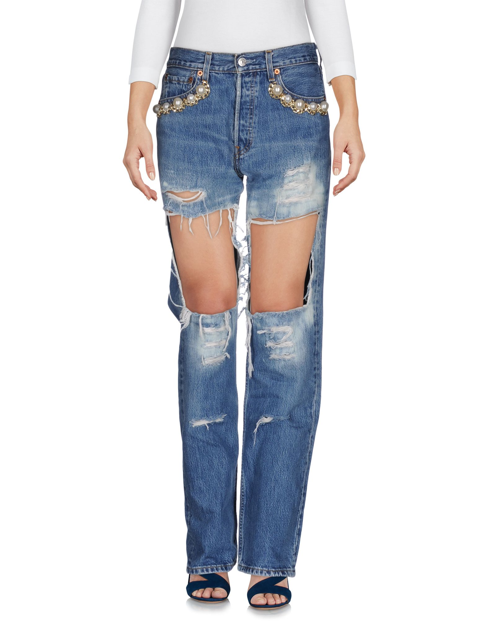 FORTE DEI MARMI COUTURE Джинсовые брюки v neckline panel tank top