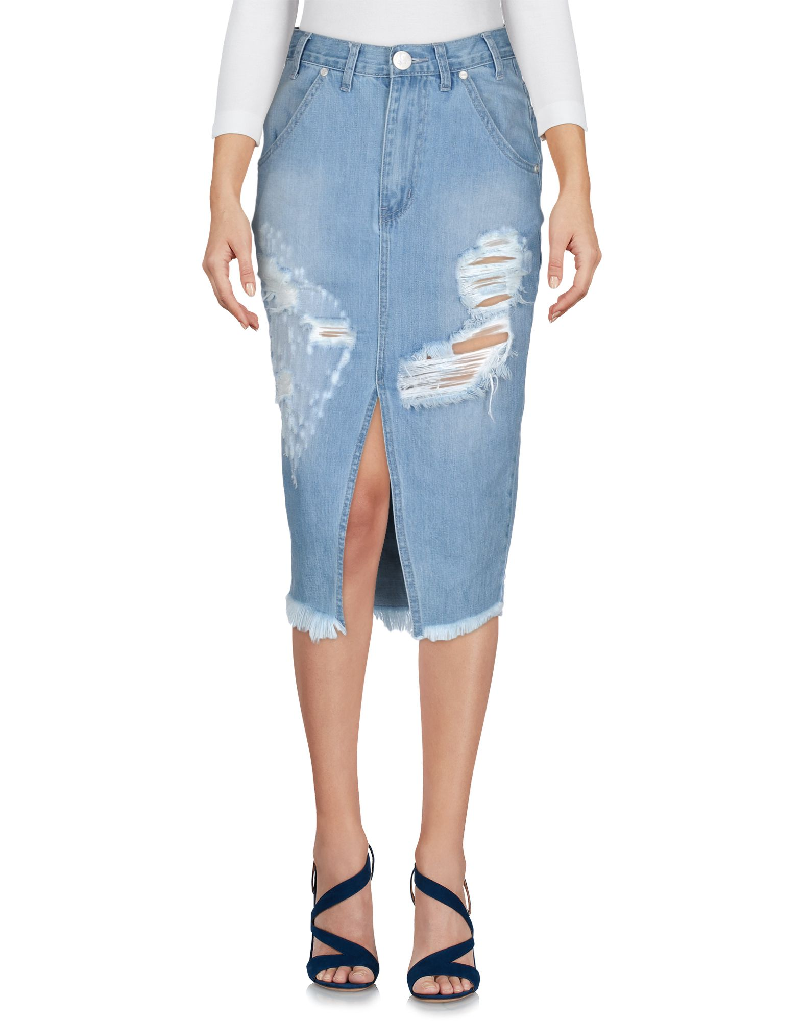 ONE x ONETEASPOON Damen Jeansrock Farbe Blau Größe 3
