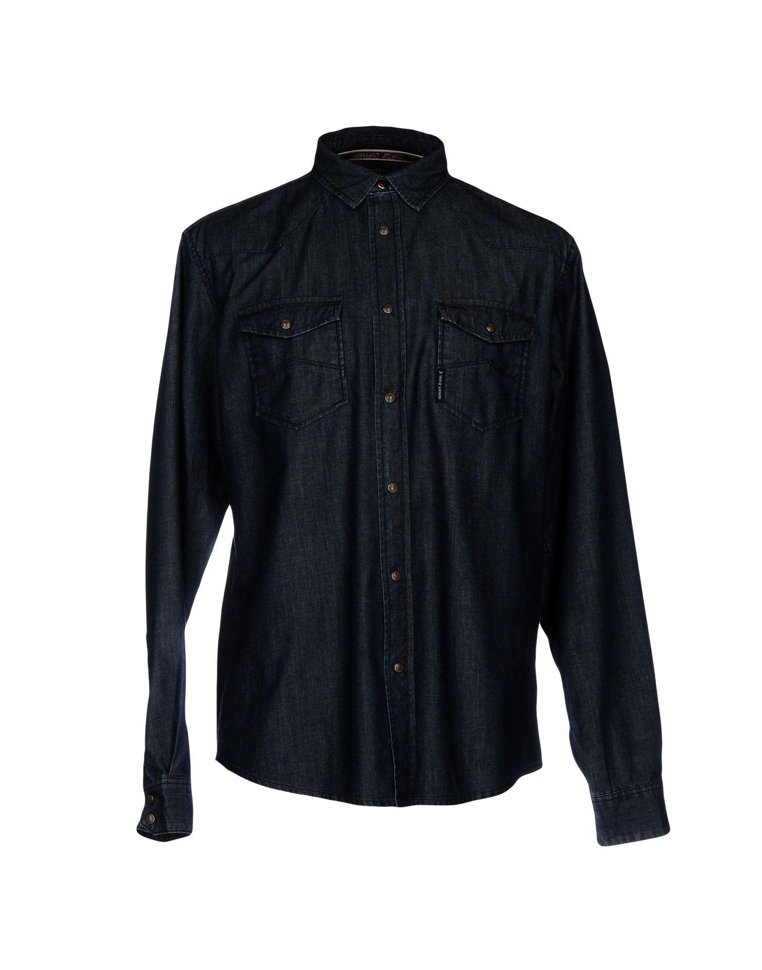 《セール開催中》ARMANI JEANS メンズ デニムシャツ ブルー M コットン 100%