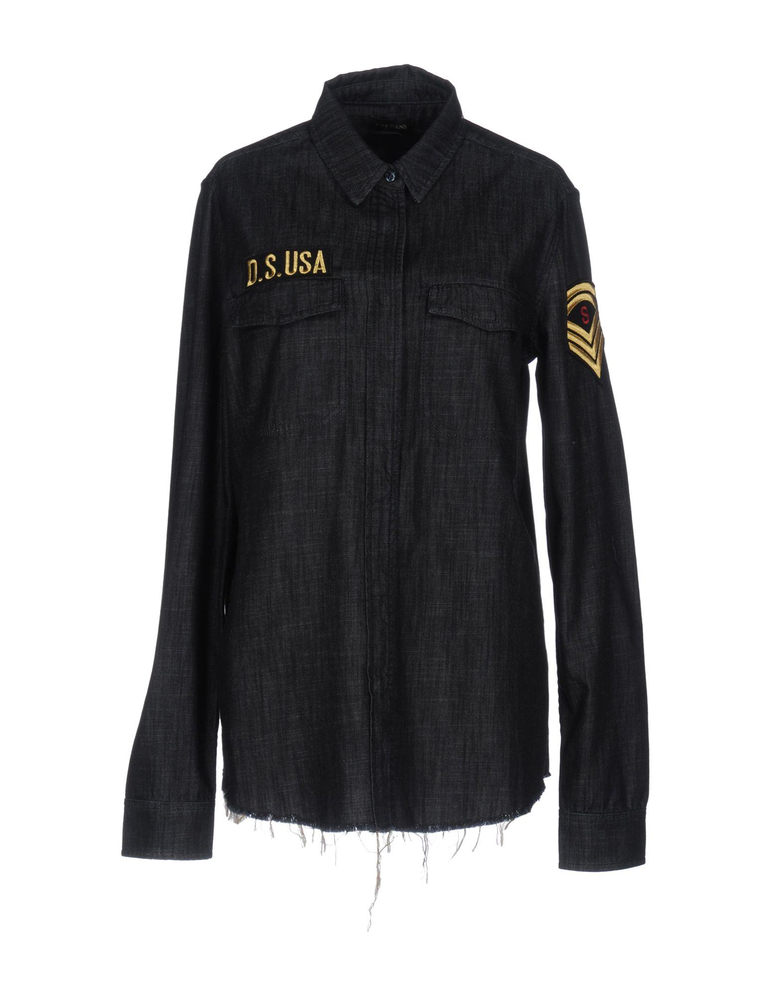 UP ★ JEANS Джинсовая рубашка lace up detail jeans
