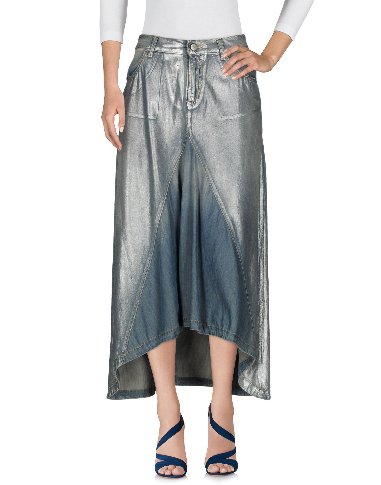 《送料無料》MANILA GRACE レディース デニムスカート ブルー 42 コットン 100%