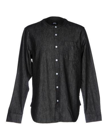 STUSSY メンズ デニムシャツ ブラック S コットン 100%