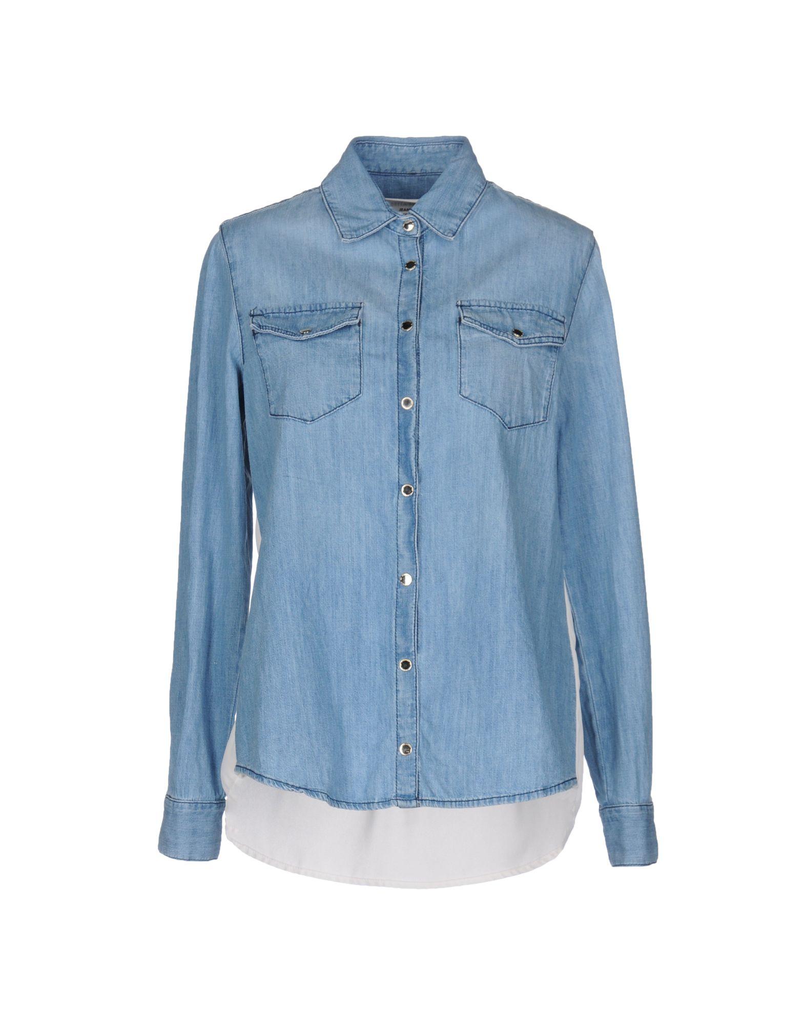 《期間限定セール中》ELISABETTA FRANCHI JEANS レディース デニムシャツ ブルー 40 コットン 100% / ポリエステル