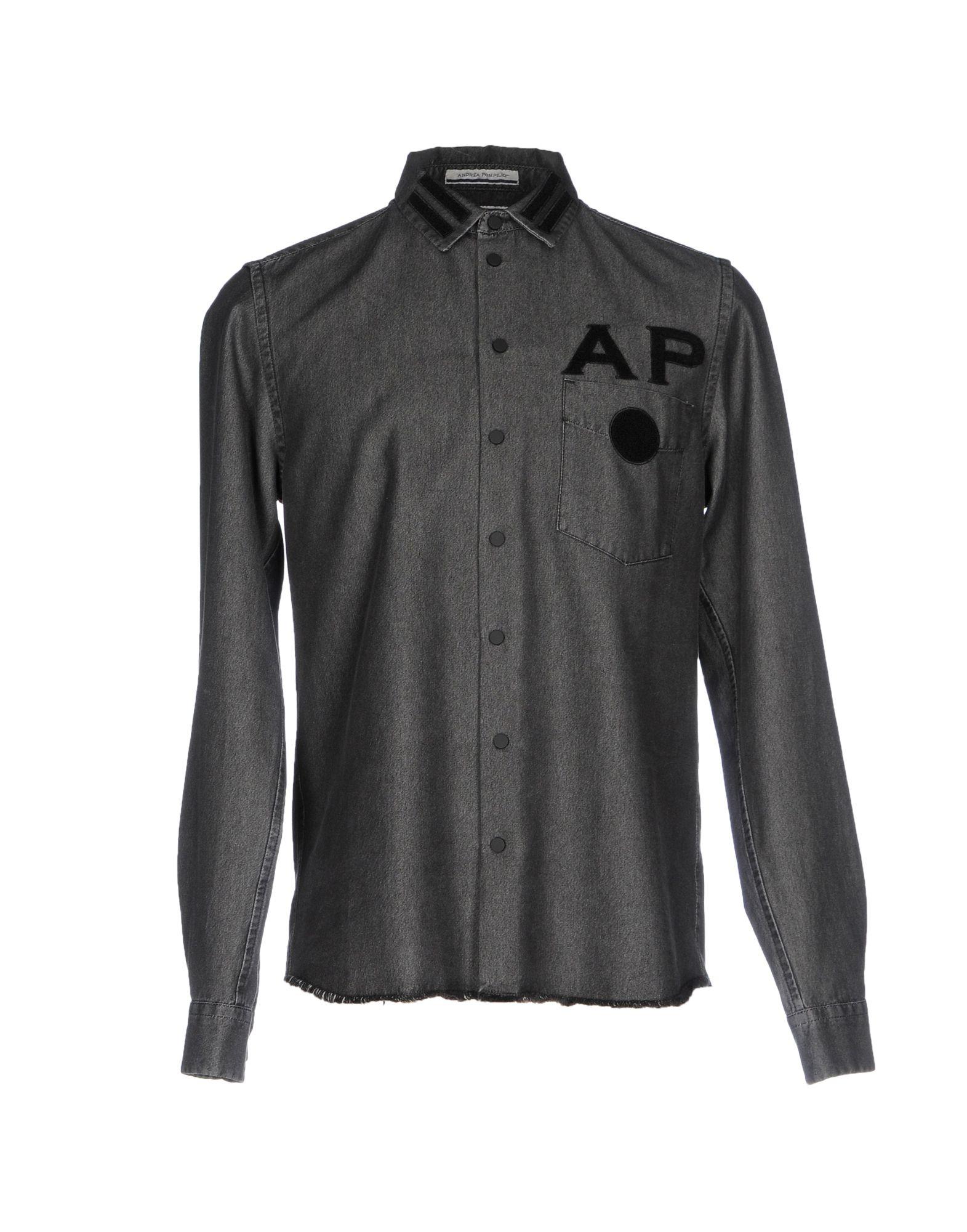 цена ANDREA POMPILIO Джинсовая рубашка онлайн в 2017 году
