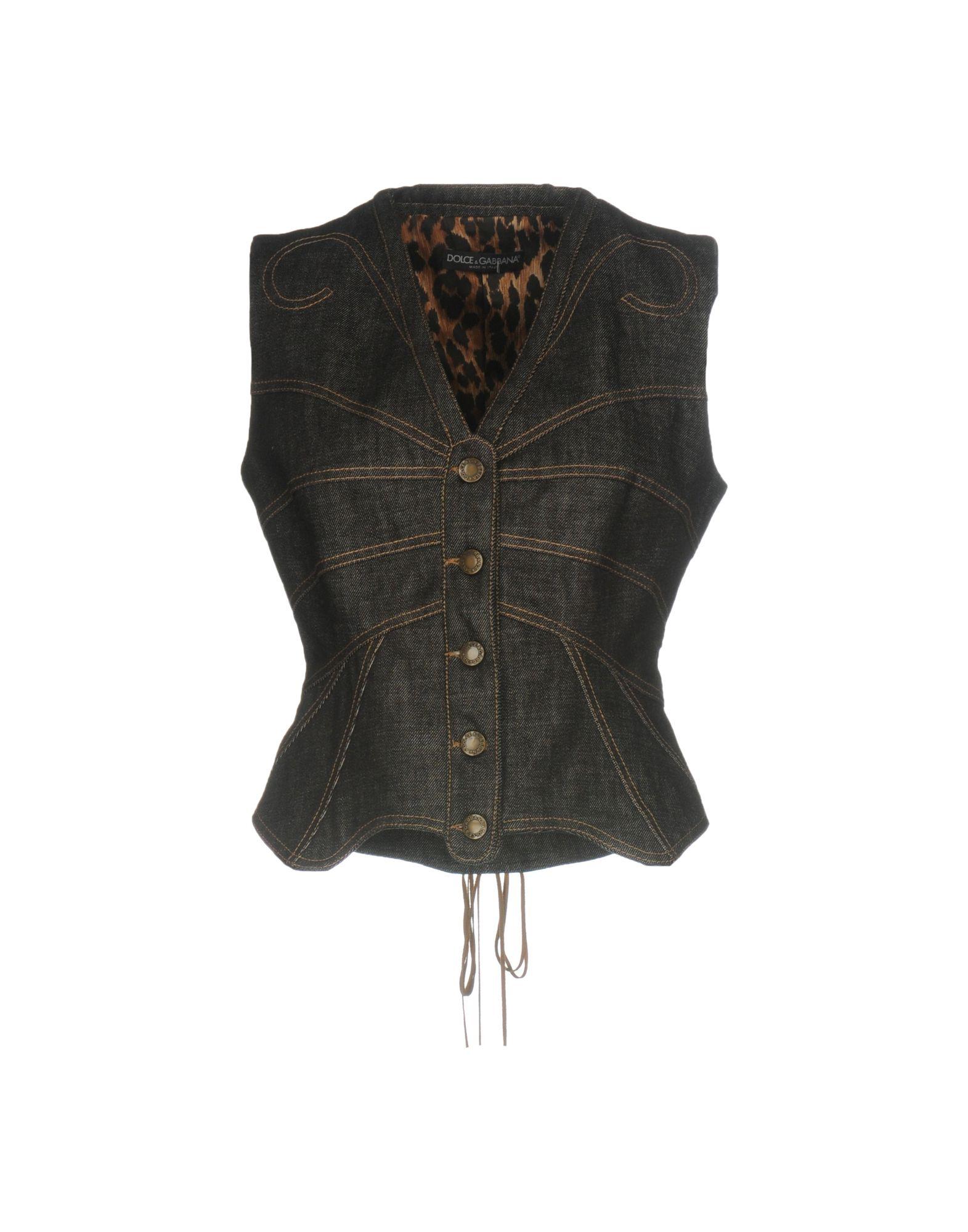 DOLCE & GABBANA Damen Jeansjacke/-mantel Farbe Schwarz Größe 4
