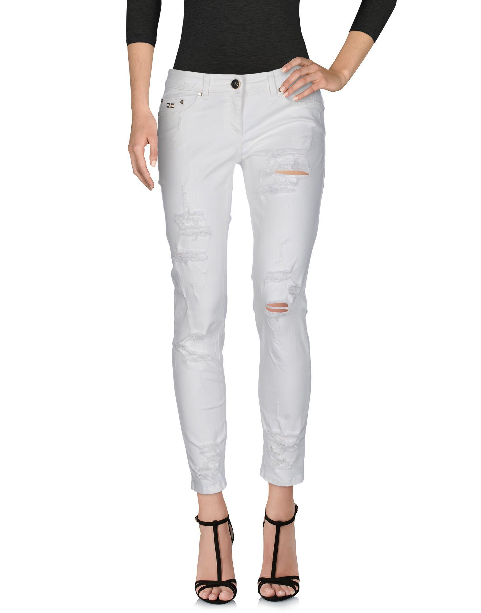 ELISABETTA FRANCHI JEANS Damen Jeanshose Farbe Elfenbein Größe 5