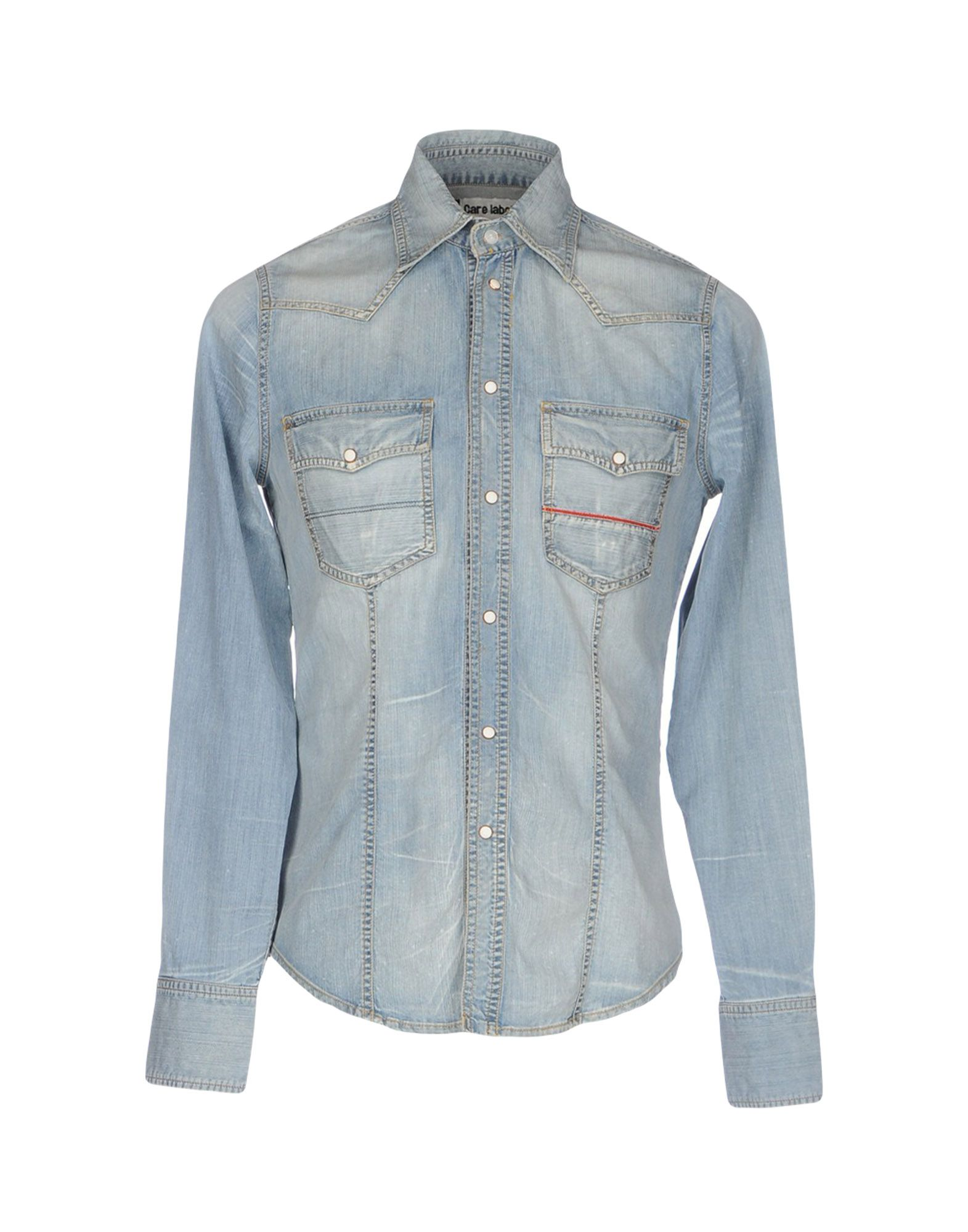 CARE LABEL Herren Jeanshemd Farbe Blau Größe 5
