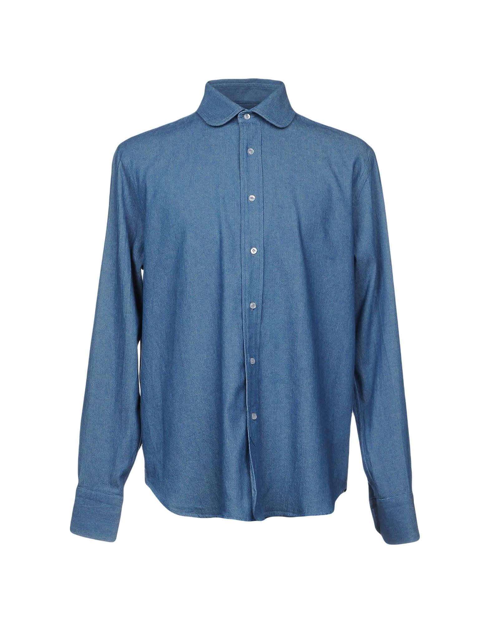 《期間限定セール開催中!》DOPPIAA メンズ デニムシャツ ブルー 40 コットン 100%