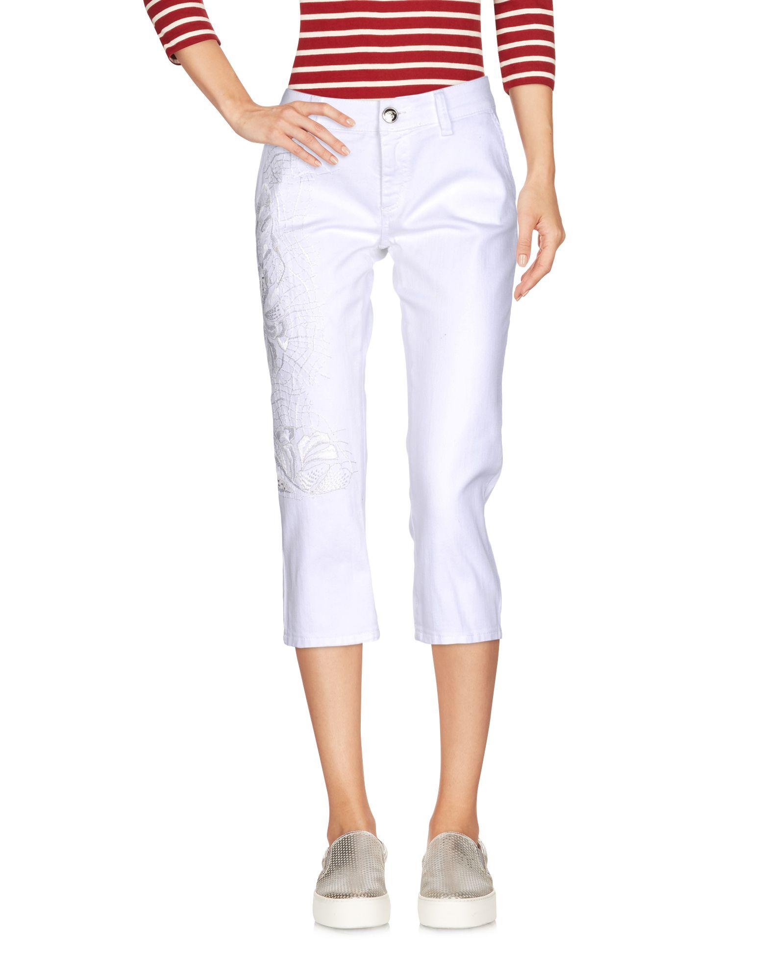 цена BLUMARINE Джинсовые брюки-капри онлайн в 2017 году