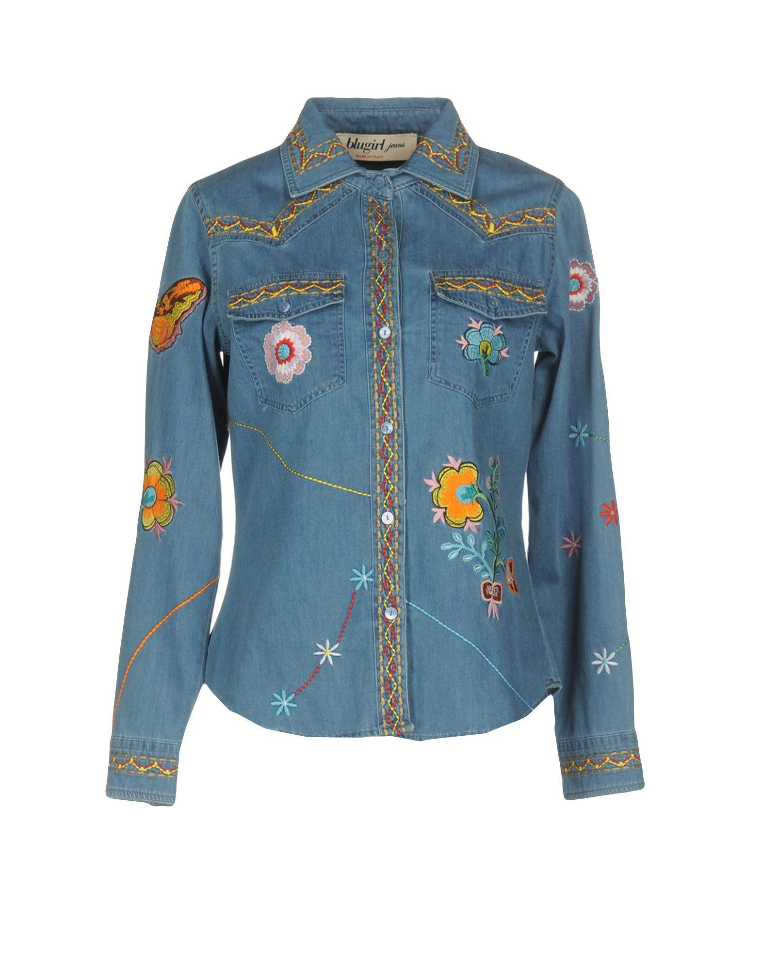 BLUGIRL JEANS Джинсовая рубашка рубашка blugirl рубашка