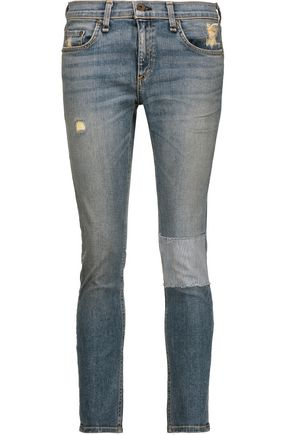 RAG & BONE Tomboy low-rise patchwork skinny jeans