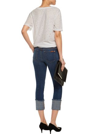 7 FOR ALL MANKIND Mid-rise paneled distressed slim-leg jeans