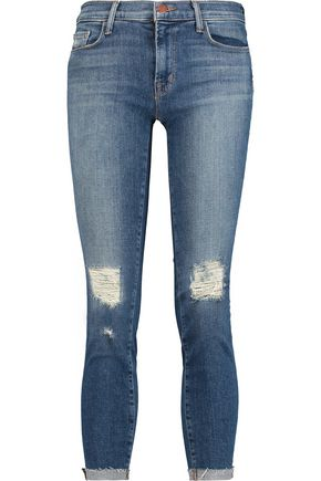 J BRAND Distressed cropped mid-rise skinny jeans