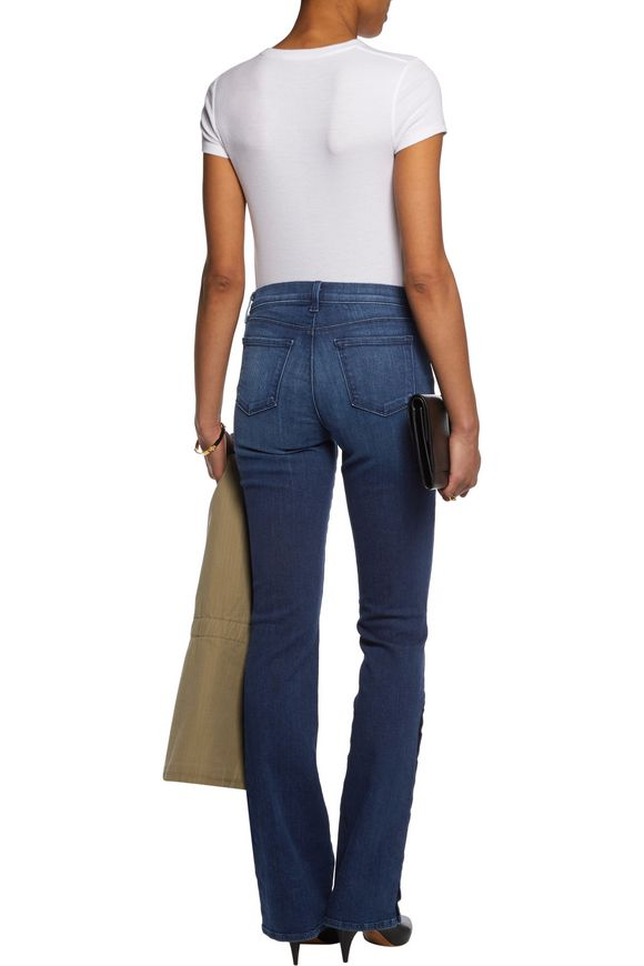 Charlene button-embellished mid-rise bootcut jeans | J BRAND | Sale up to  70% off | THE OUTNET