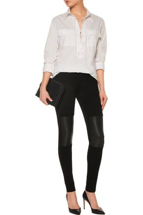 J BRAND Nicola low-rise leather-paneled skinny jeans