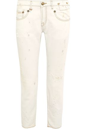 R13 Mid-rise cropped distressed skinny jeans