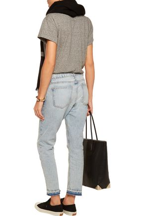 CURRENT/ELLIOTT The Cropped distressed low-rise boyfriend jeans