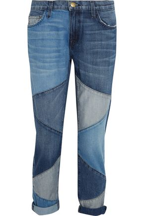 CURRENT/ELLIOTT Patchwork low-rise boyfriend jeans
