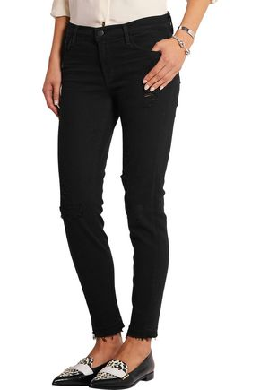 J BRAND 835 distressed mid-rise skinny jeans