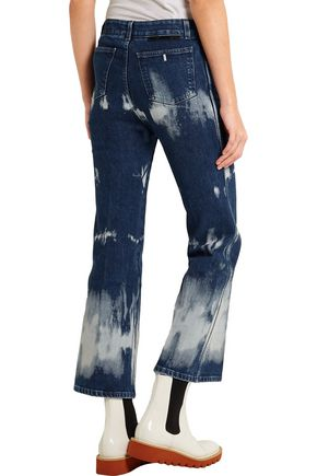 STELLA McCARTNEY Cropped tie-dyed high-rise bootcut jeans